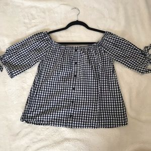 Checkered off the shoulder shirt